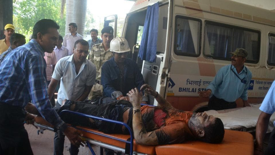 An injured person being taken to the hospital in Bhilai following a blast at the steel plant there on Tuesday, October 9, 2018.