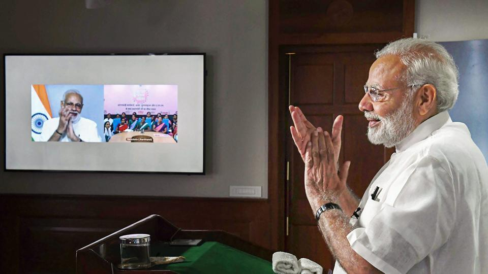 Prime Minister Narendra Modi interacts with the ASHA, Anganwadi and ANM workers from all over the country through video conference, New Delhi, September 11, 2018