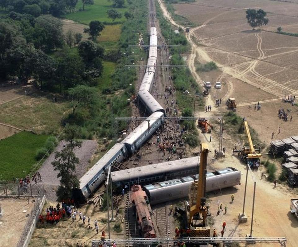 The derailed coaches of MLDTNDLSExpress near Harchandpur in Rae Bareli district in Uttar Pradesh.