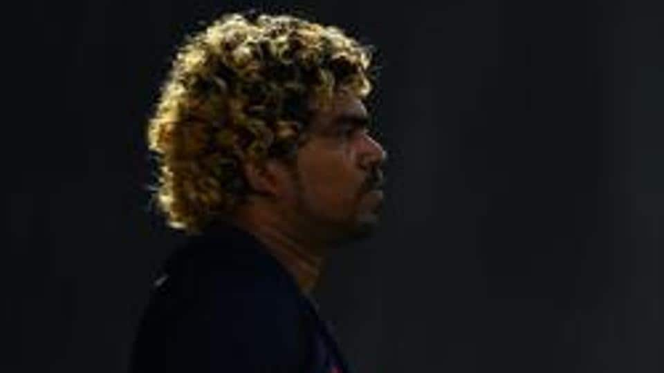 File image of Lasith Malinga in action during a training session for Sri Lanka.