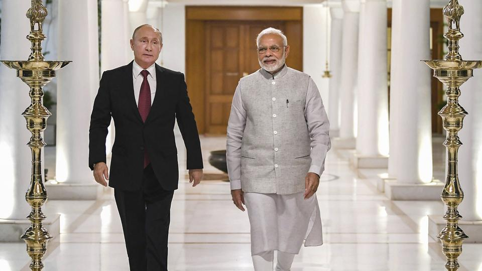 New Delhi: Prime Minister Narendra Modi and Russian President Vladimir Putin before their meeting in New Delhi, Thursday, Oct. 4, 2018. Putin arrived in India for a two-day visit.