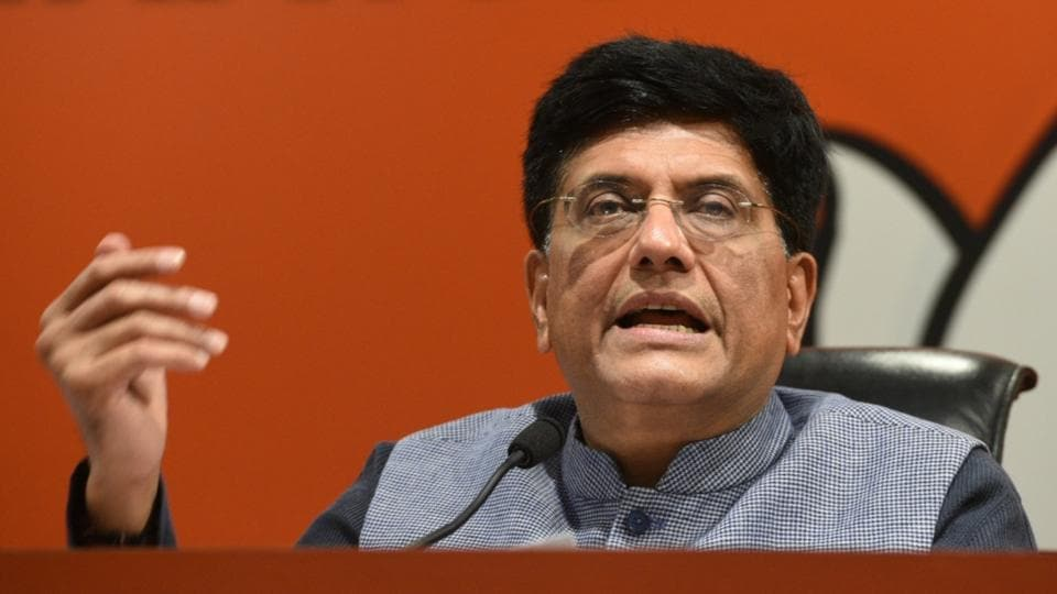 "Hitting back at Congress over the Rafale aircraft deal, Union minister Piyush Goyal said during a press conference, ""We have, of late, been experiencing the activities of a serial liar. Only an issue-less man can repeat a lie again and again."" He also claimed the BJP-led government negotiated a far better Rafale aircraft deal than what was agreed upon by the United Progressive Alliance. (Mohd Zakir / HT Photo)"