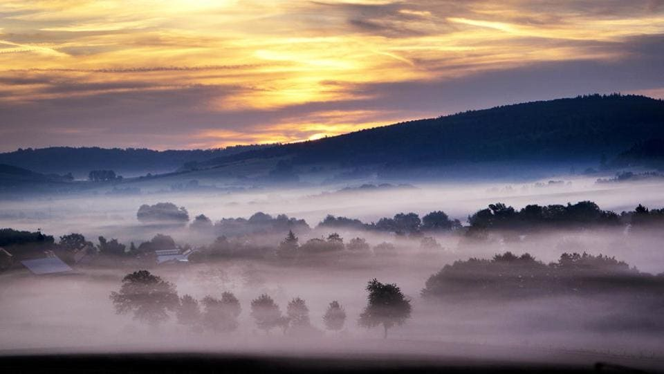 Fog sits on the fields of a village near Kassel, central Germany, just before sunrise. (Michael Probst / AP)