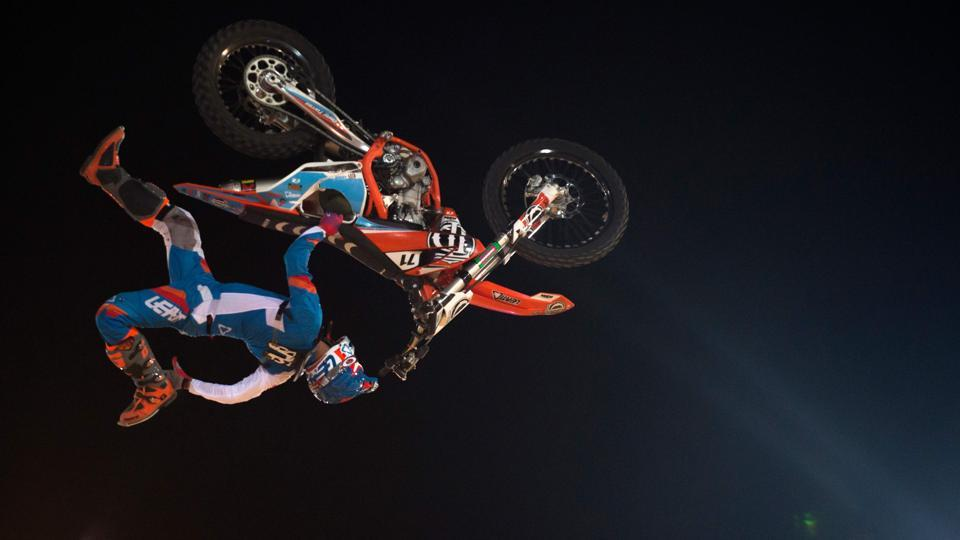 Spanish rider Dani Torres jumps during the FMX Freestyle Spain Championship in Granada, Spain. (Jorge Guerrero / AFP)