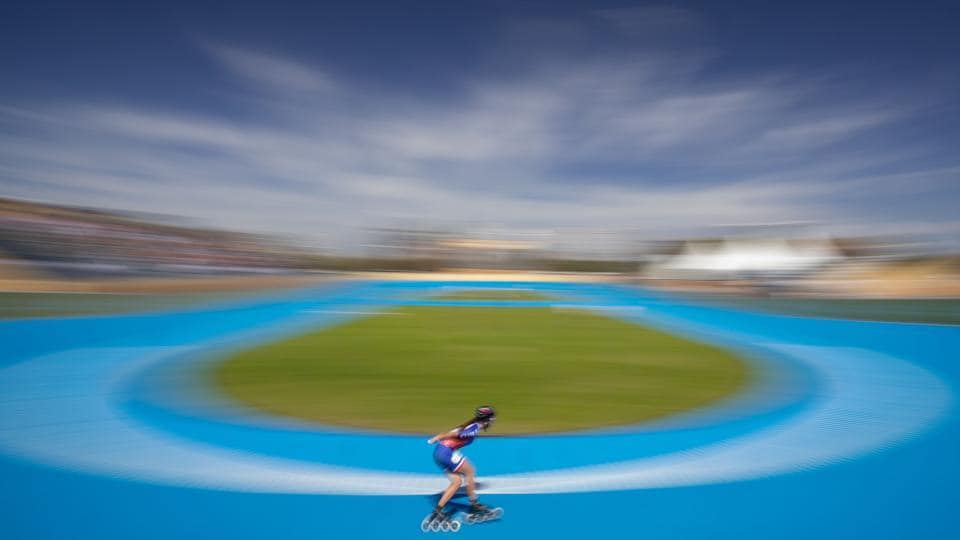 Chilean Ashly Catalina Marin Torres warms up ahead of the Roller Speed Skating Women's Combined at the Bosques de Palermo, Green Park, during the Youth Olympic Games in Buenos Aires, Argentina. (Simon Bruty / OIS / IOC /AFP)