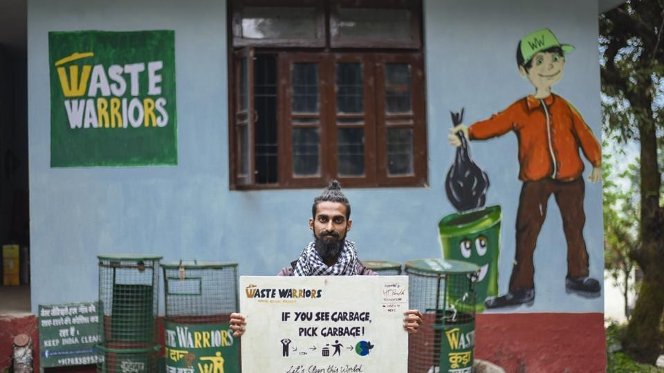 A member of the Waste Warriors team, Dharamsala, June 11, 2018