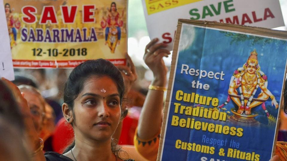 Devotees participate in an agitation against the Supreme Court's verdict on Sabarimala Temple, in Chennai on October 12, 2018.
