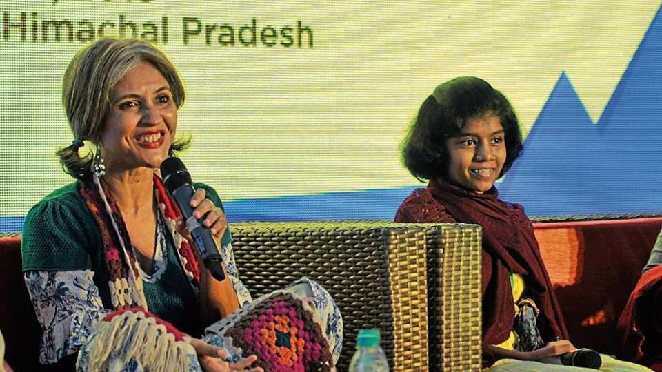 Author Anuja Chauhan and Aditi Inamdar interacting with the audience during a session at the Khushwant Singh Literature Festival in Kasauli.
