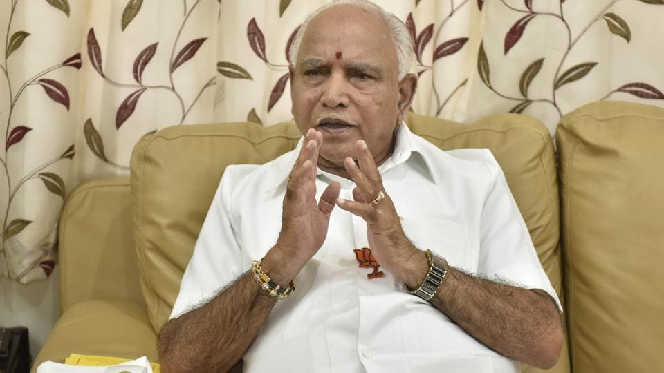 BS Yeddyurappa, former chief minister of Karnataka during an interview with Hindustan Times in Bengaluru.