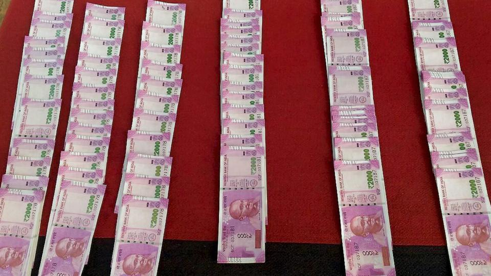 Fake currency notes of Rs 2000 denomination.