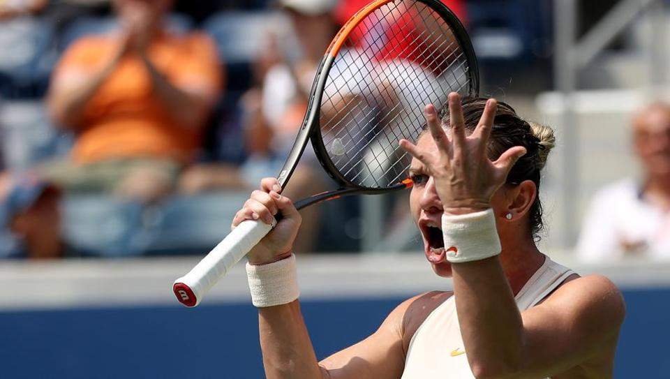 File image of Simona Halep reacting during a match.(AFP)
