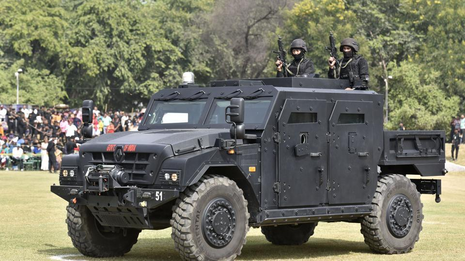 An Armoured Fighting vehicle with NSG commandos mounted is displayed, at NSG Manesar campus in Gurugram. The NSG also guards 13 high-risk VVIPs in the country, including the Union Home Minister. (Sanjeev Verma / HT Photo)