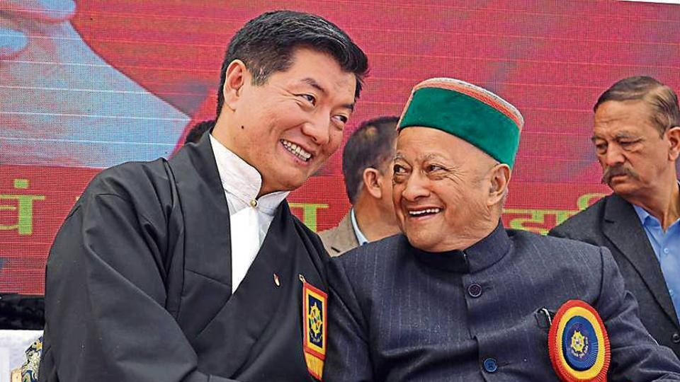 Tibetan Prime Minister-in-exile Lobsang Sangay with former Himachal Pradesh chief minister Virbhadra Singh at the 'Thank You Himachal' event on The Ridge in Shimla on Monday.