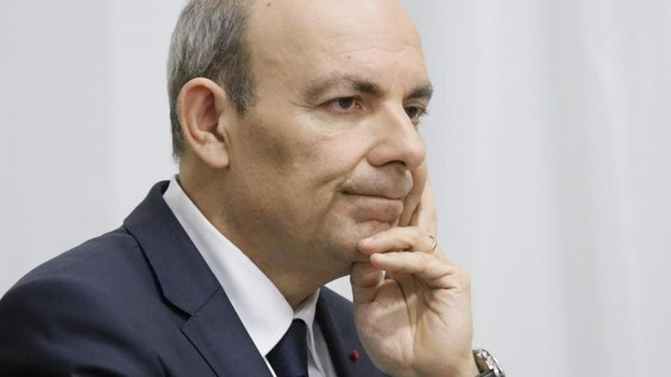 Eric Trappier, chairman and CEO of Dassault Aviation, attends a meeting with Russian president Vladimir Putin and other representatives of the French and Russian business communities at the Novo-Ogaryovo state residence outside Moscow, Russia January 31, 2018.