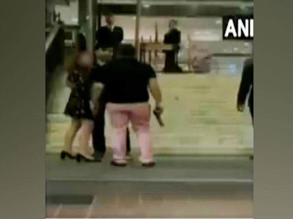 A 10-second video clip that has been widely circulated shows former BSP MP's son Ashish Pandey is seen brandishing a gun outside Hyatt Regency hotel in South Delhi.(ANI Photo)