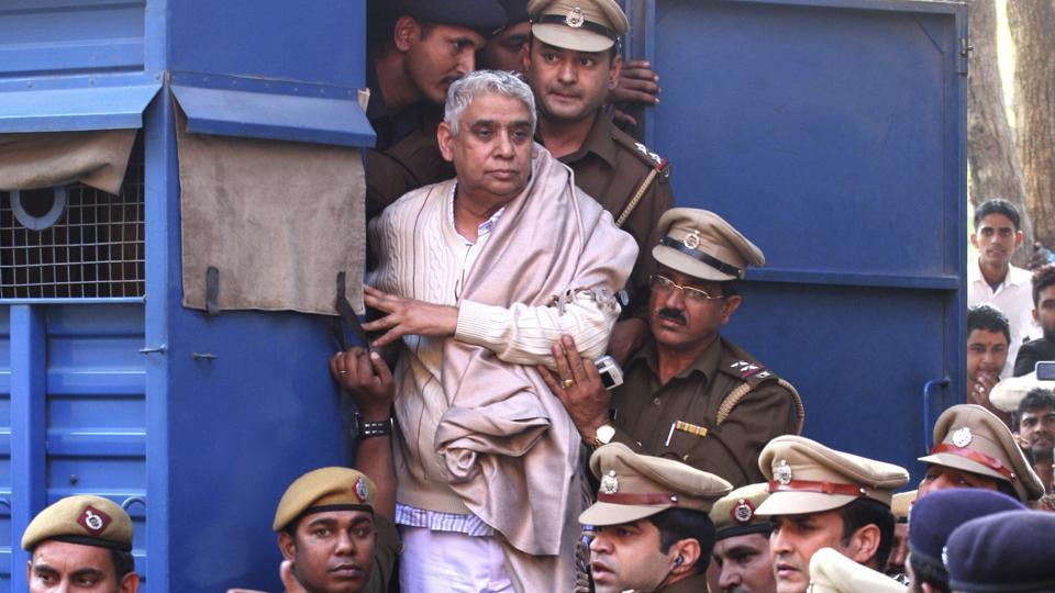 On Tuesday, a local court in Haryana's Hisar sentenced self-styled godman Rampal to life imprisonment in connection with a murder case against him. The court of additional district and sessions judge (ADJ) DR Chalia pronounced the verdict in the 2014 case. (Kapil Sethi / AP File)