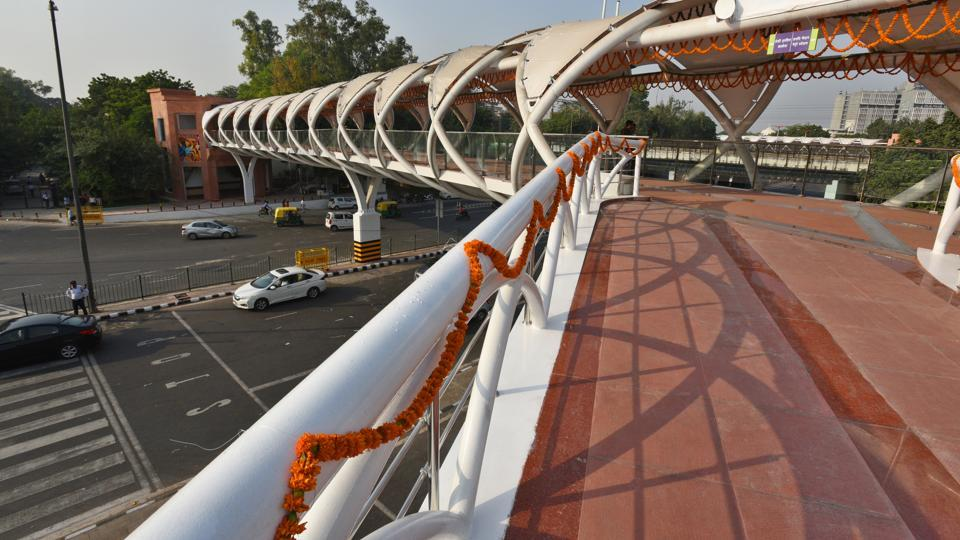 A view of the ITO skywalk after its inauguration at Tilak Marg Chowk in New Delhi, on Monday, October 15, 2018.