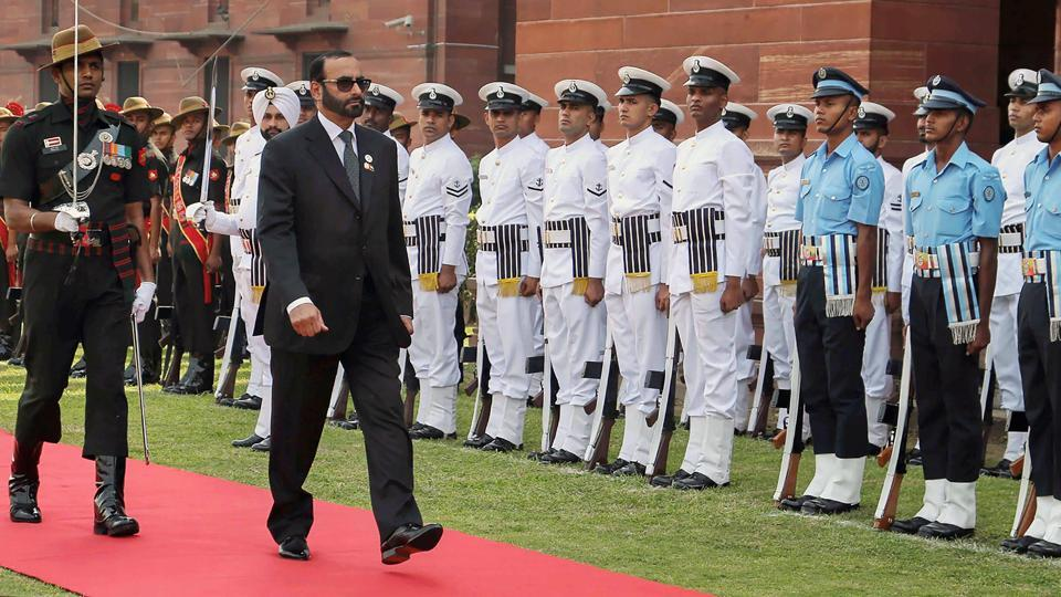 UAE Minister of State for Defence Affairs Mohammed Ahmed Al Bowardi inspects the Tri-Services Guard of Honour in New Delhi. (PIB / PTI)