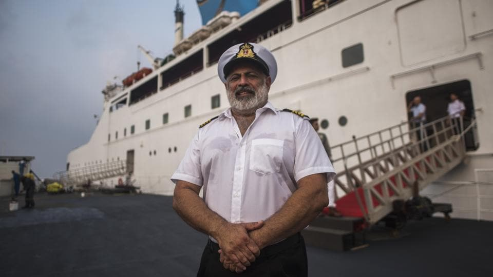 Captain Nitin Dhond outside Angriya, India's first luxury cruise ship. Union minister for shipping Nitin Gadkari and Mahrashtra chief minister Devendra Fadnavis will flag-off the cruise which will operate between Mumbai and Goa. The commercial operations will, however, begin from October 24. (Pratik Chorge / HT Photo)