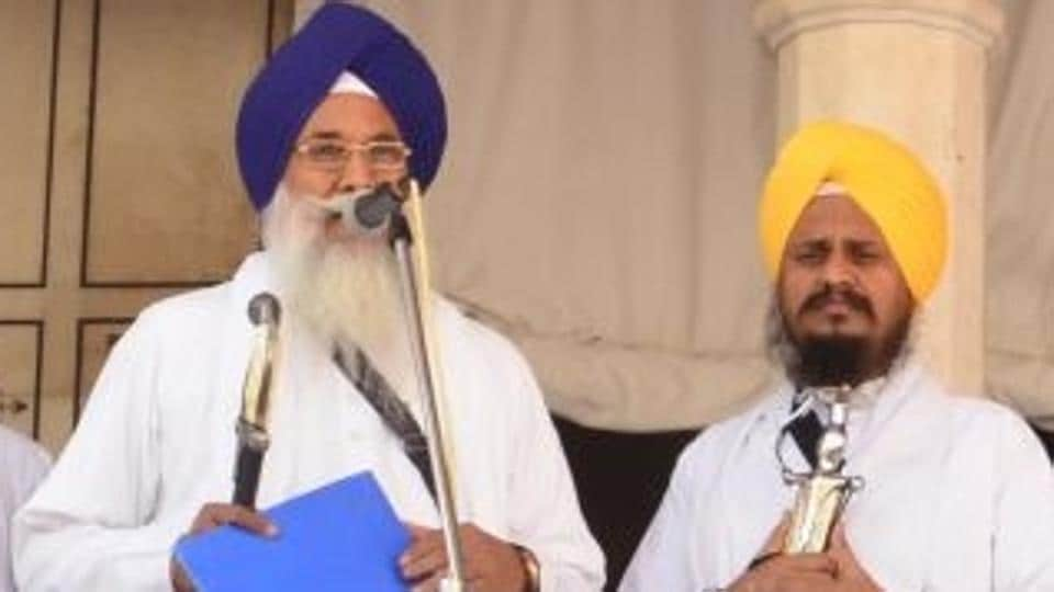 Giani Gurbachan Singh reading out a hukamnama at the Akal Takht in the Golden Temple.