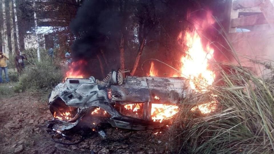 Car catches fire after accident on Jhajjar-Farukhnagar highway, one
