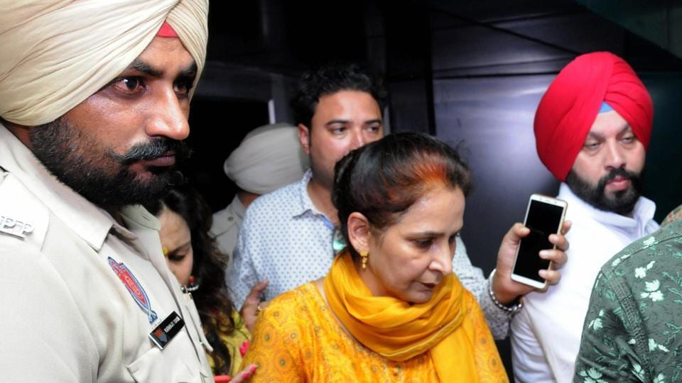 Navjot Kaur Sidhu, wife of Punjab minister of Tourism, Cultural Affairs comes out of a hospital after enquiring about the well being of train accident victims, in Amritsar, Friday, Oct 19, 2018.