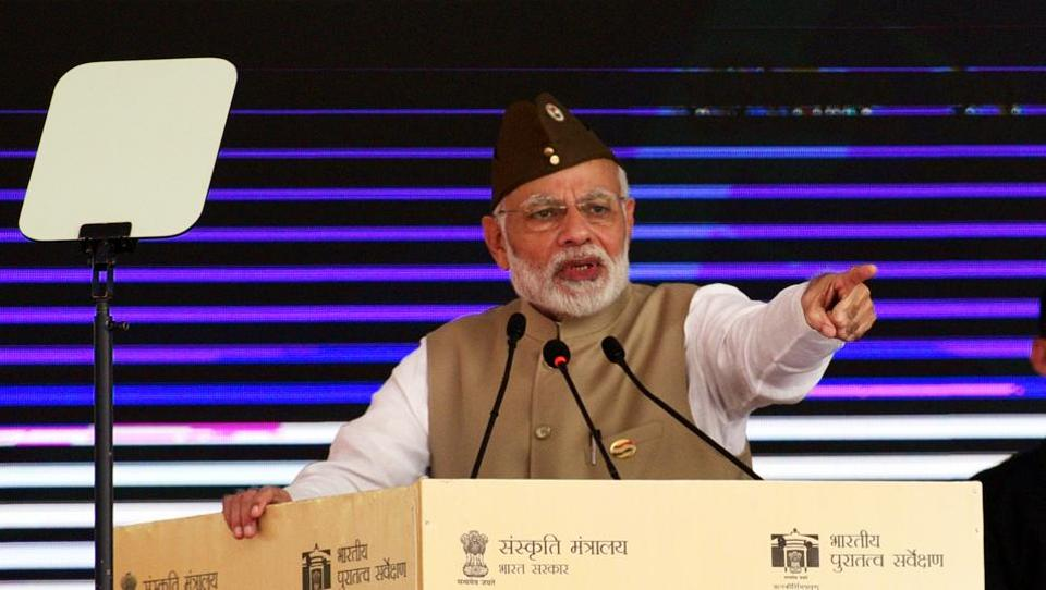 Prime Minister Narendra Modi addresses a ceremony to mark the 75th anniversary of establishment of Azad Hind Government, at Red Fort in New Delhi, on October 21, 2018.