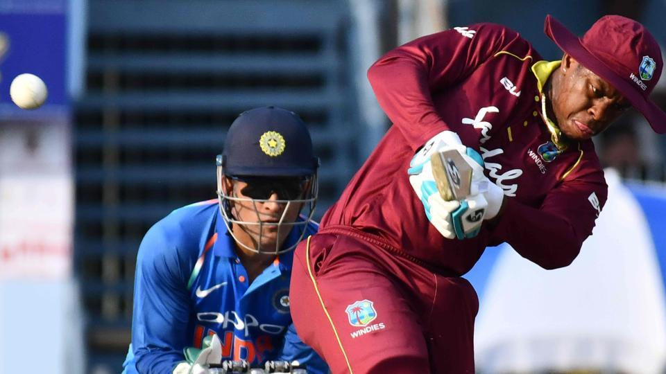 West Indies batsman Shimron Hetmyer plays a shot during the first one day international (ODI) cricket match. (AFP)