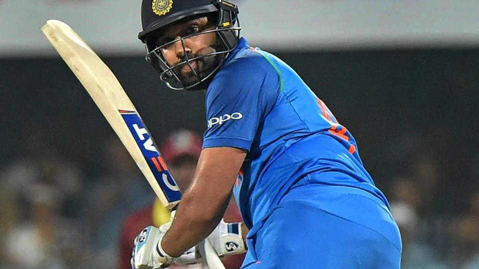 Guwahati: Indian cricketer Rohit Sharma in action during the first One Day International cricket match. (PTI)