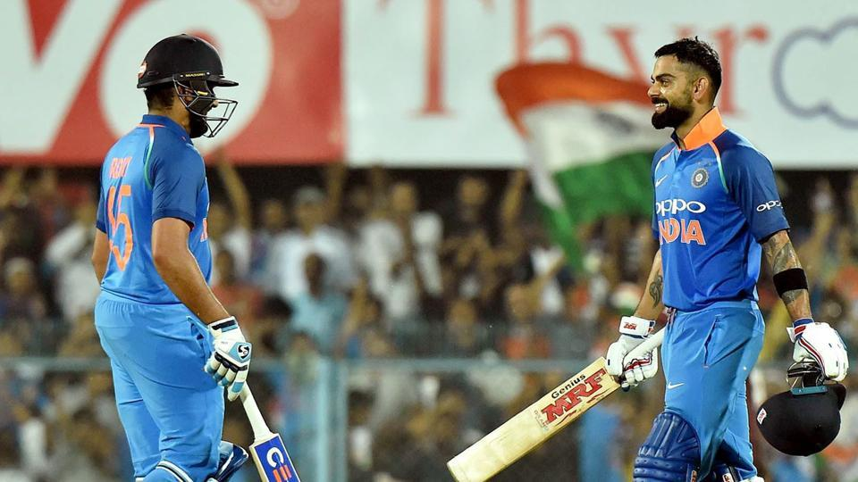 Rohit Sharma and Virat Kohli both struck centuries as India romped home against West Indies by 8 wickets.  (PTI)