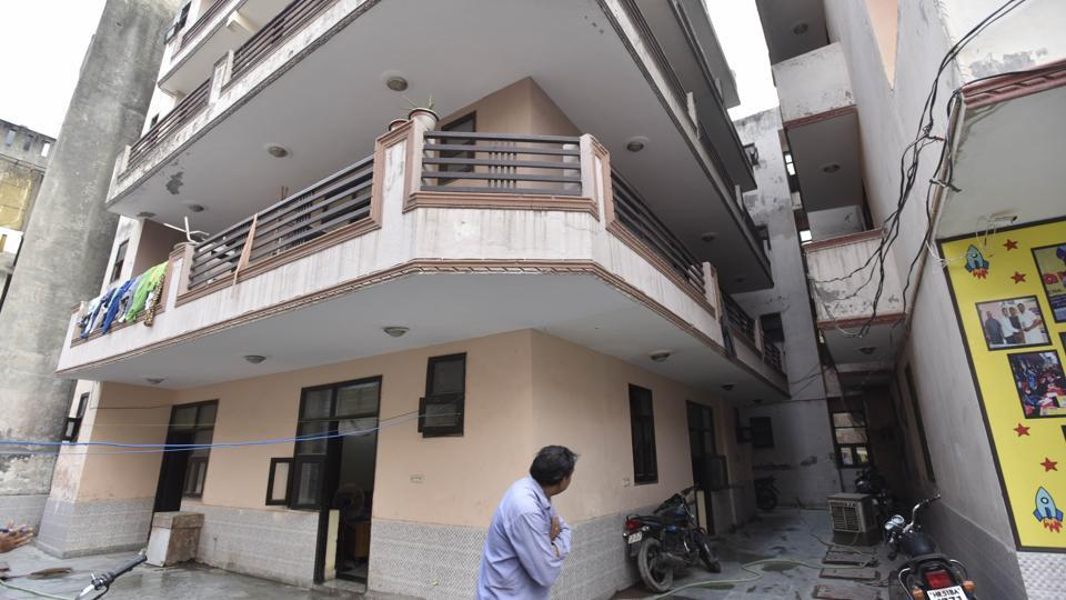 The house in Aman apartments, Surajkund, Faridabad, where the four bodies were found on Saturday.