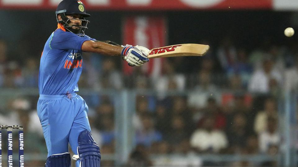 India's captain Virat Kohli bats during the first one-day international cricket match. (AP)