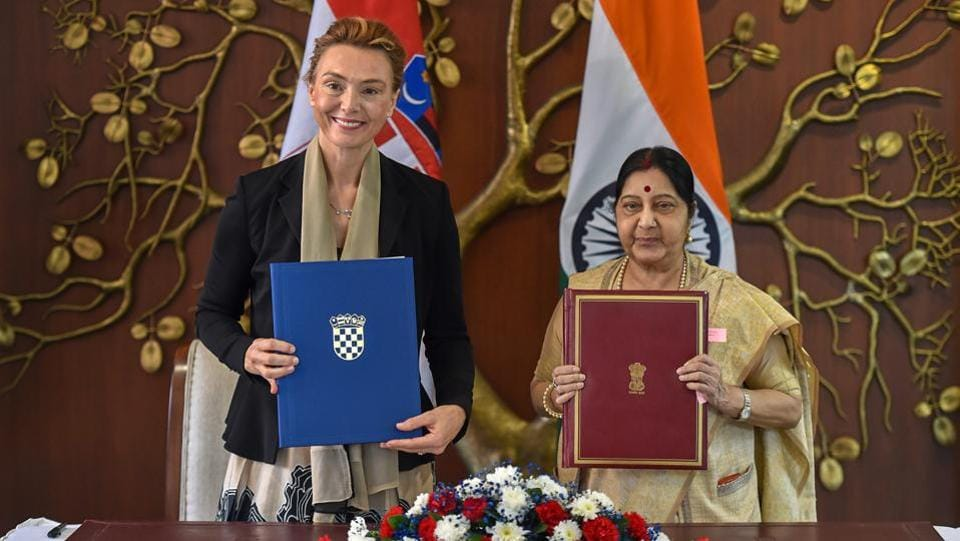 India and Croatia on Monday signed two agreements to facilitate cultural exchange and diplomatic cooperation. The agreements were signed and exchanged by External Affairs Minister Sushma Swaraj and her Croatian counterpart Marija Pejcinovic Buric. (Manvender Vashist / PTI)