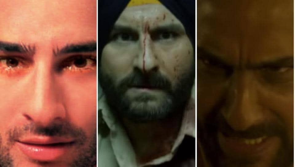 Saif Ali Khan in stills from Being Cyrus, Sacred Games and Kaalakaandi.