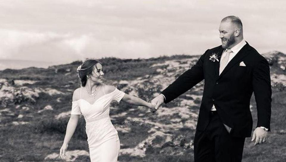 The Mountain of Game of Thrones, Hafþor Julius Bjornsson with his bride Kelsey Henson.
