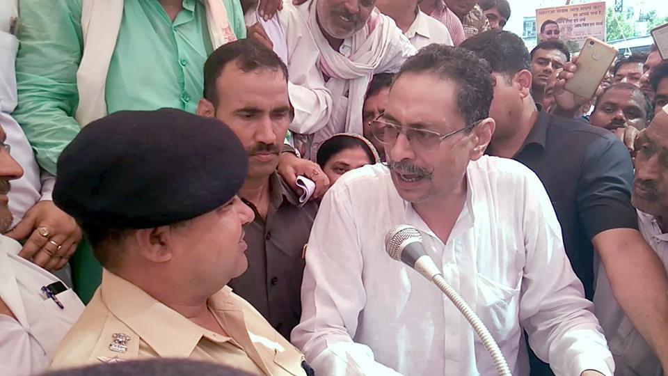 MLA Vishvendra Singh with supporters court arrest demanding withdrawal of cases against Jat agitators in Bharatpur.