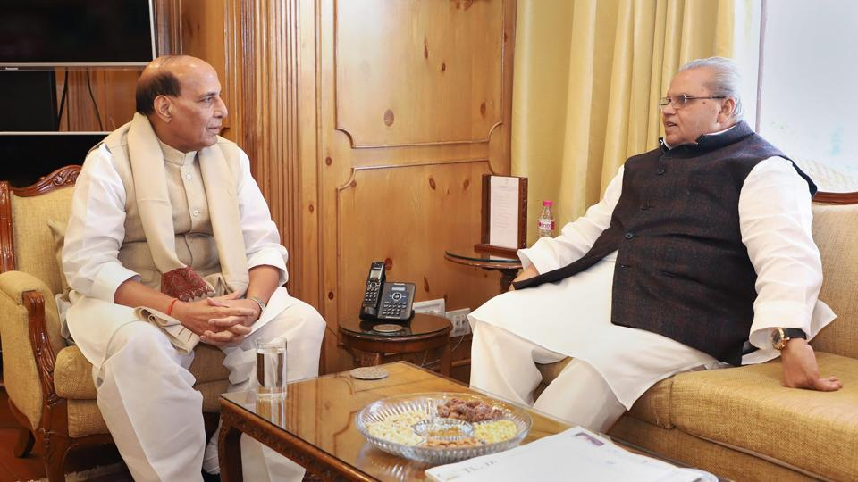 Union Home Minister Rajnath Singh meets Jammu and Kashmir Governor Satya Pal Malik, in Srinagar. The minister is in the state to review the security situation and hold high-level meetings with civil, police and security representatives. (PIB / PTI)