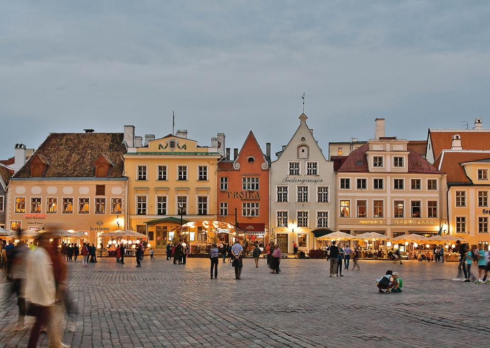 Tallinn's Town Hall Square or Raekoja plats is a popular hangout spot