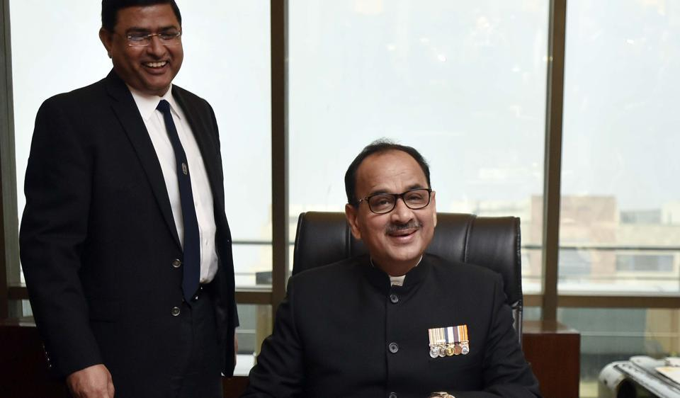 FILE PHOTO: Alok Verma and Rakesh Asthana. The government finally decided to step into the ongoing war within the Central Bureau of Investigation by, effectively, removing the squabbling Nos. 1 and 2 of the agency from the field of play, and appointing an interim chief.