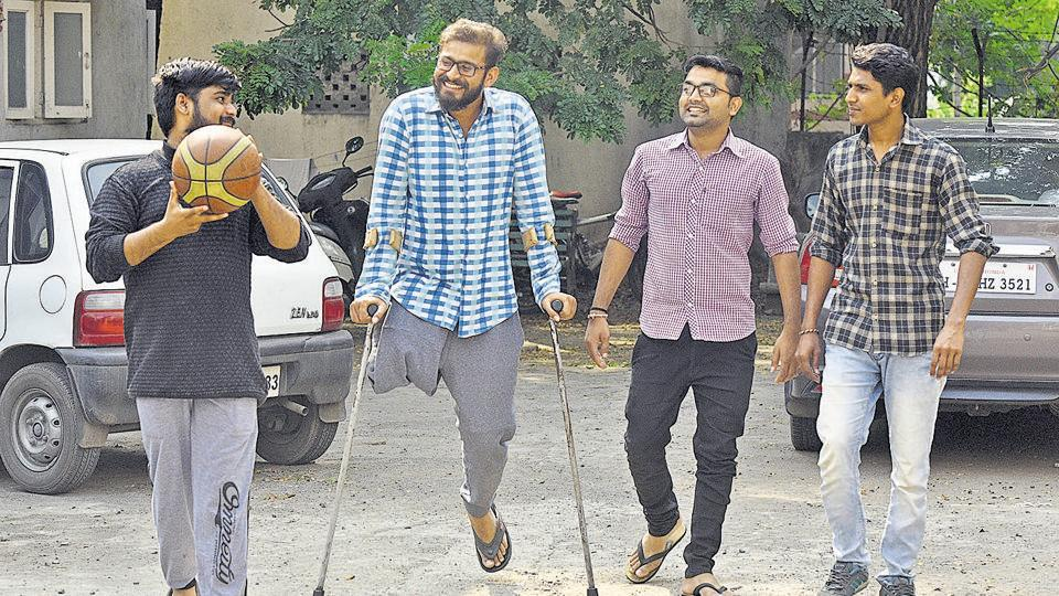 Javed Choudhari (second from left) shares light moment with his friends near his residence on Sinhagad road in Pune