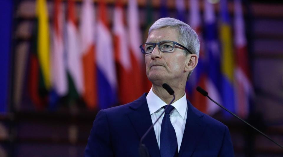 Tim Cook, CEO of Apple Inc talks at the Debating Ethics event at the European Parliament in Brussels on October 24, 2018.