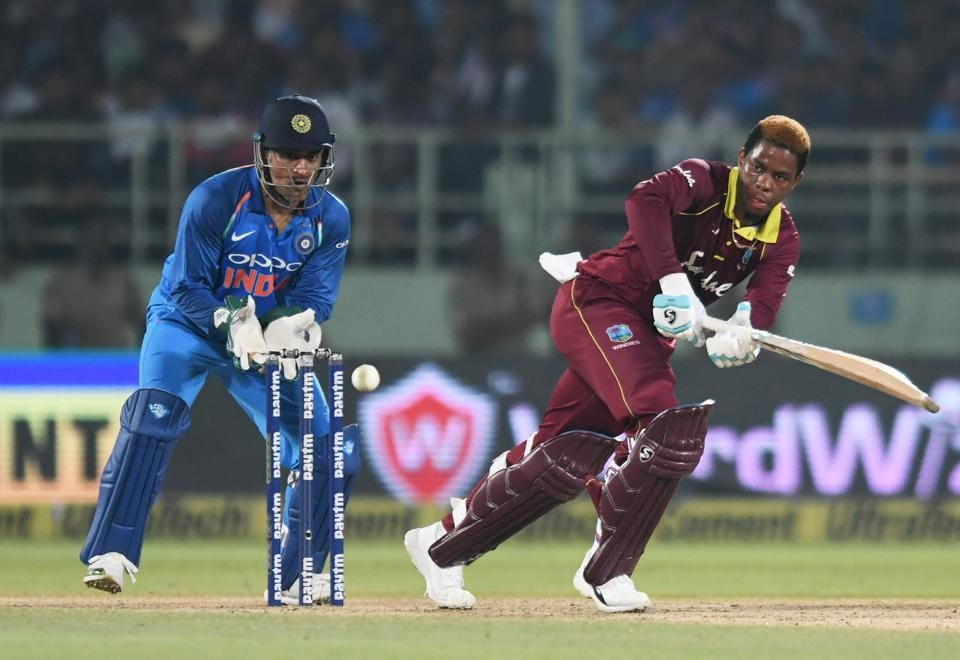 West Indies cricketer Shimron Hetmyer plays a shot during the second one day international (ODI) cricket match between India and West Indies at the Dr. Y.S. Rajasekhara Reddy ACA-VDCA Cricket Stadium in Visakhapatnam. (AFP)
