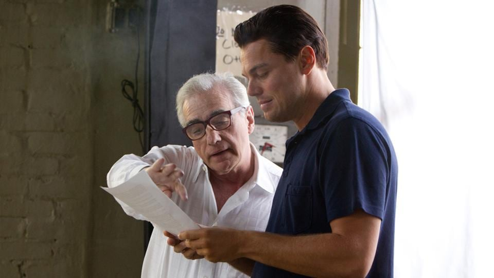 Leonardo DiCaprio and Martin Scorsese on the set of The Wolf of Wall Street.
