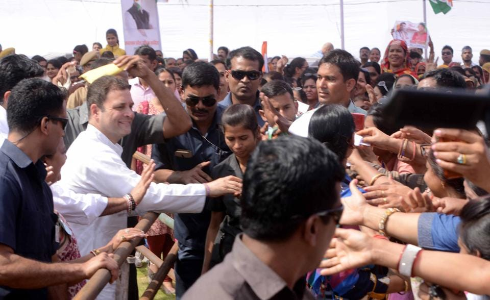 AICC President, Rahul Gandhi meets public after addressing the conference of State Women Committee of Rajasthan, in Kota on Thursday.