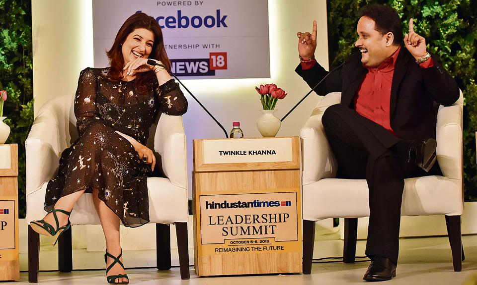 Author and film producer Twinkle Khanna with author Amish Tripathi at the Hindustan Times Leadership Summit at Taj Palace in New Delhi on October 5, 2018.