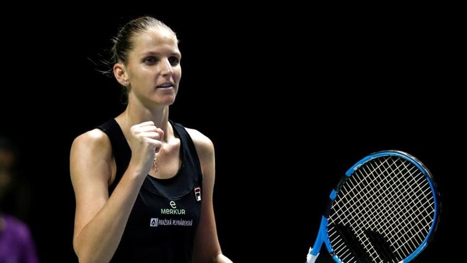Czech Republic's Karolina Pliskova celebrates winning her group stage match against Czech Republic's Petra Kvitova.