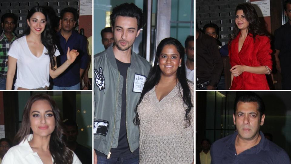 Salman Khan attended Aayush Sharma's birthday bash, thrown by his sister Arpita Khan. Also seen were Jacqueline Fernandez, Sonakshi Sinha, Kiara Advani among others.