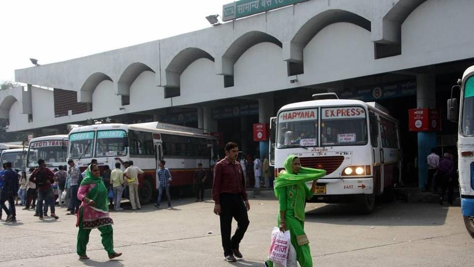 Haryana Roadways buses parked at the bus stand in Rohtak on Thursday as the employees' strike entered the 10th consecutive day on Thursday.