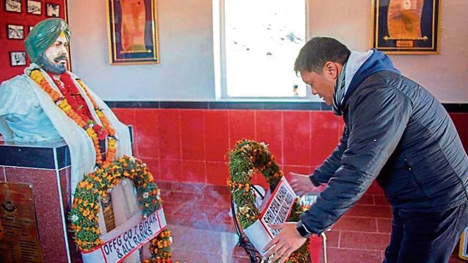 Arunachal chief minister Pema Khandu laying a wreath at the memorial of Subedar Joginder Singh near Tawang on Thursday.