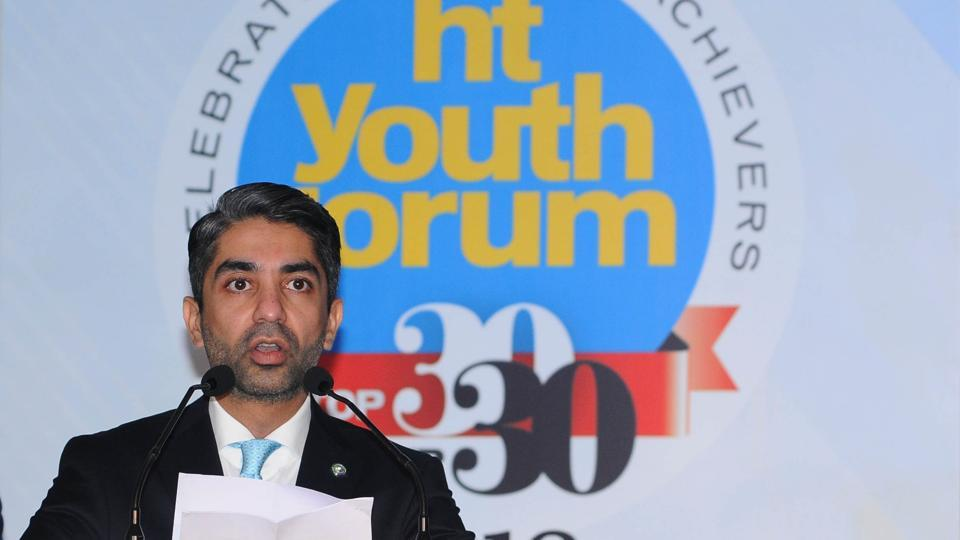 Abhinav Bindra addressing the audience during the HT Youth Forum in Chandigarh on Friday.